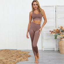 Load image into Gallery viewer, Women's Seamless Hyperflex Stretch Workout Fitness Sports Two Piece 2 Pc Set Sport High Waist Leggings and Sports Bra Top Yoga Outfits Sportswear Athletic Gym Clothes Set