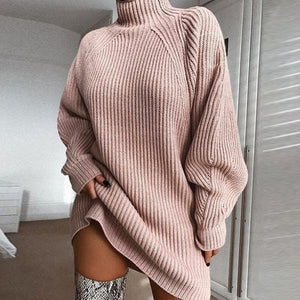 Women's Turtleneck Long Sleeve Sweater Dress Autumn Winter Loose Tunic Knitted Casual Solid Color Ribbed Knit Dress