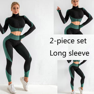 3 Piece or 2 Piece Set Choice Women Yoga Sets Fitness Sport Wear Leggings High Support Bra Crop Top Workout Clothes Gym Seamless Yoga Suits