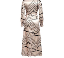 Load image into Gallery viewer, Fabulous Champagne Color Vintage Satin Letter Print Long Wrap V-Neck Dress