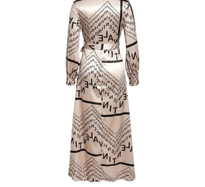 Fabulous Champagne Color Vintage Satin Letter Print Long Wrap V-Neck Dress