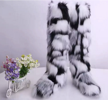 Load image into Gallery viewer, Over the Knee Low Heel Faux Fur Plush and Comfortable Shoe Boots