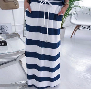 Women's Two-Piece Set Off the Shoulder Anchor Top with Long Striped Skirt