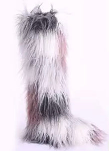 Over the Knee Low Heel Faux Fur Plush and Comfortable Shoe Boots