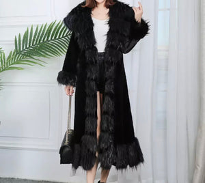Luxurious and Soft High Quality Faux Fur Tie Long Hooded Winter Coat