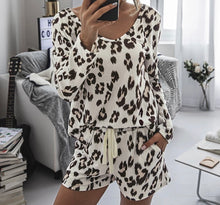 Load image into Gallery viewer, Cozy Two-Piece Leopard Print Nightwear and Loungewear Set