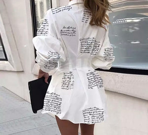 Black & White Long Sleeve Letter Print Short Dress/Long Shirt