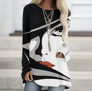 Super Cozy Long-Sleeve O-Neck Multi-Color Face Design Pull-Over Top
