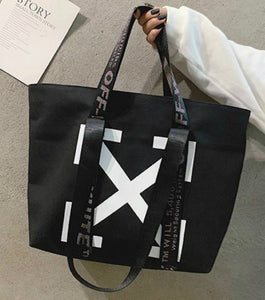 Large Pattern Recyclable Shopper Tote in Black or White with Handles