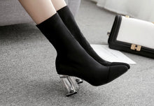 Load image into Gallery viewer, Sharp Black Sock Style Ankle Boot with Clear Acrylic Heel