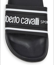 Load image into Gallery viewer, NEW ROBERTO CAVALLI Black Logo Pool Slides Shoes Sandals