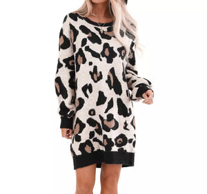 Leopard Print Long-Sleeve Pullover Loungewear Mini Dress