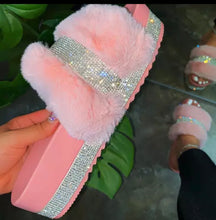 Load image into Gallery viewer, Faux Fur Slipper Slide Bling Rhinestone Wedge Shoes