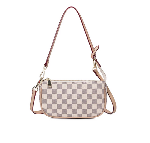 NEW PU Leather Small Beige Checker Pattern Handbag