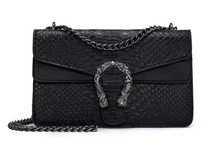 Load image into Gallery viewer, Large Mermaid Closure Synthetic Alligator Bag in PINK or BLACK