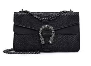 Large Mermaid Closure Synthetic Alligator Bag in PINK or BLACK