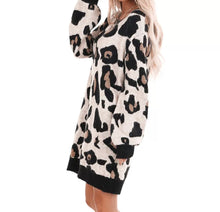 Load image into Gallery viewer, Leopard Print Long-Sleeve Pullover Loungewear Mini Dress