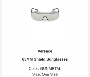 VERSACE 65MM Grey Gunmetal Sunglasses Shades
