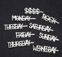 "Load image into Gallery viewer, High Fashion Bling Rhinestone Hair Clip/Pin ""Days of the Week"" and Sayings"