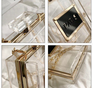Acrylic Casual Black or Transparent Perfume-Shaped Bottle Bag