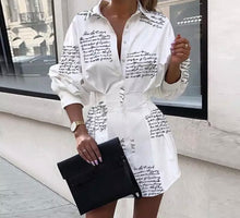 Load image into Gallery viewer, Black & White Long Sleeve Letter Print Short Dress/Long Shirt