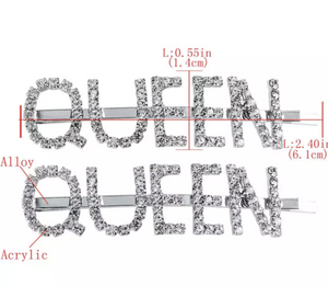 "NEW BLING ""QUEEN"" Hair Clips/Pins Set of Two"
