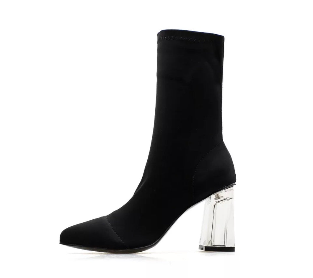 Sharp Black Sock Style Ankle Boot with Clear Acrylic Heel