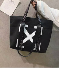 Load image into Gallery viewer, Large Pattern Recyclable Shopper Tote in Black or White with Handles