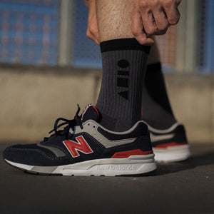 Clay Active's gunmetal grey sport sock with New Balance shoe. Training sock made in Australia, made for style and performance.