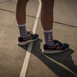 Clay Active's lavender sport sock with New Balance shoe. Training sock made in Australia, made for style and performance.