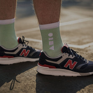 Clay Active's mint sport sock with New Balance shoe. Training sock made in Australia, made for style and performance.