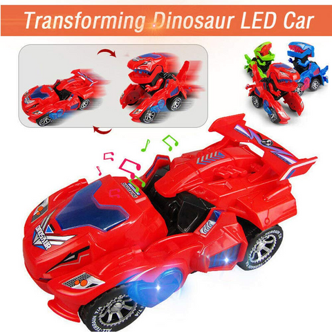 Toys for Boys Electric Transforming Dinosaur LED Car with Music Sound Kids Gift