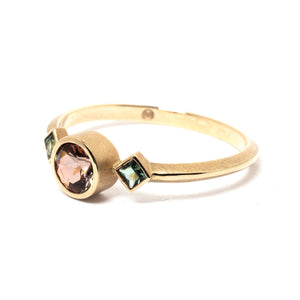Andalusite and Tourmaline Gold Ring