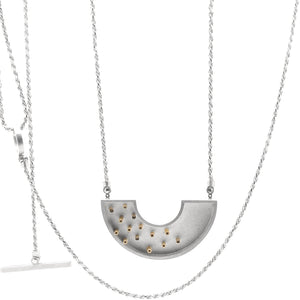 Colander Necklace with 14 Gold Tubes