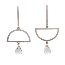 Load image into Gallery viewer, White Topaz Alternating Semicircle Earrings