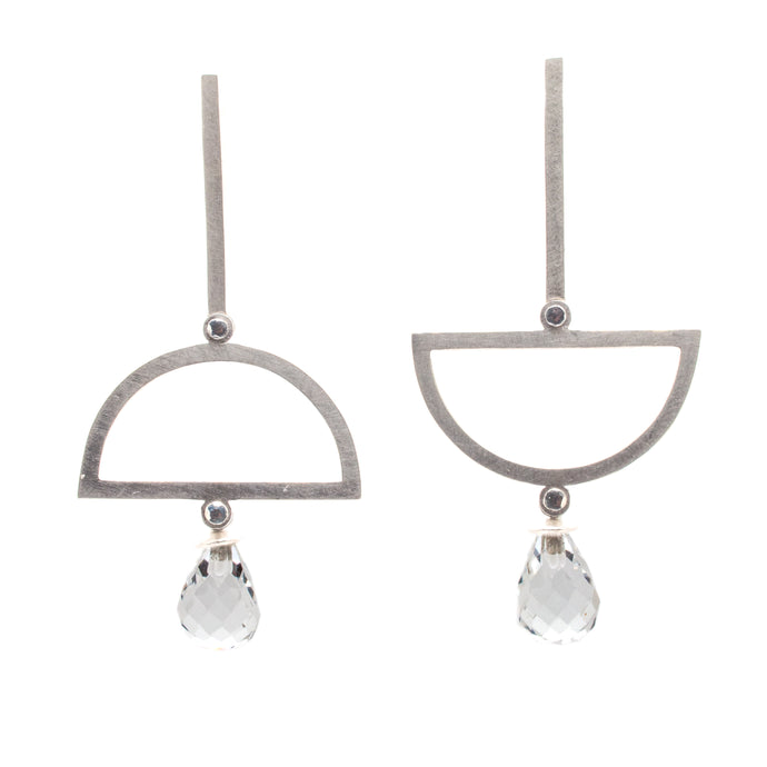 White Topaz Alternating Semicircle Earrings