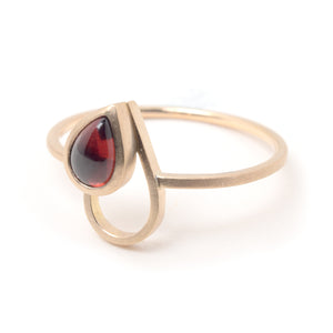 Garnet Gold Drop Ring