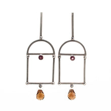 Load image into Gallery viewer, Malaya Garnet and Smokey Quartz Vaulted Earrings