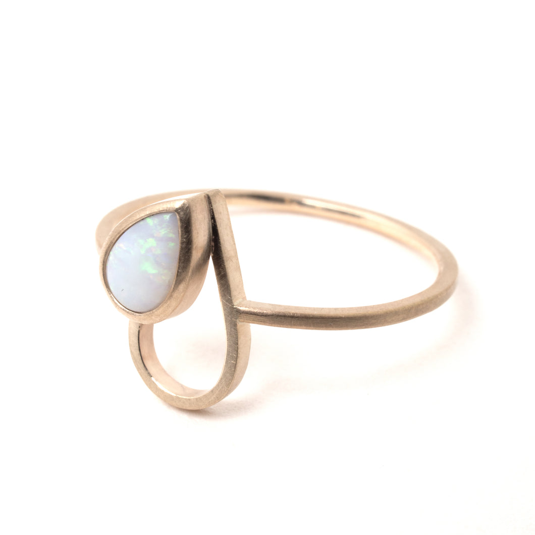 Opal Gold Drop Ring