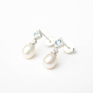 Sky Blue Topaz and Pearl Drops