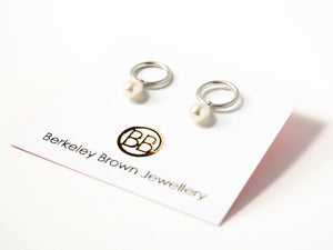 Pearl Drop Circle Studs in Silver