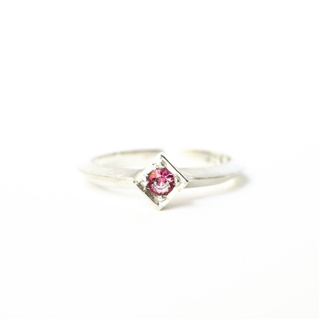 Pink Topaz Cube Ring
