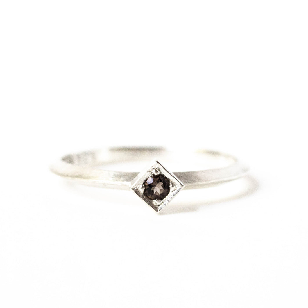 Smoky Quartz Cube Ring