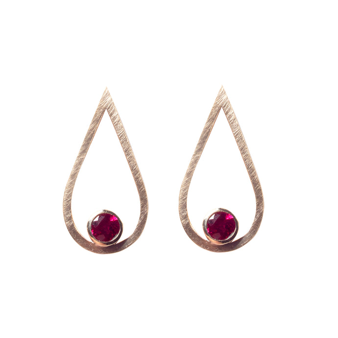 Ruby Gold Drop Studs