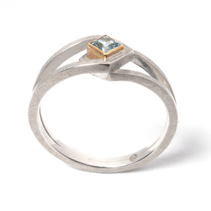 Double Sky Blue Topaz Silver Ring