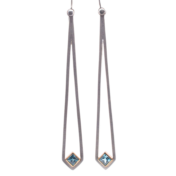 Blue Zircon Dangly Earrings