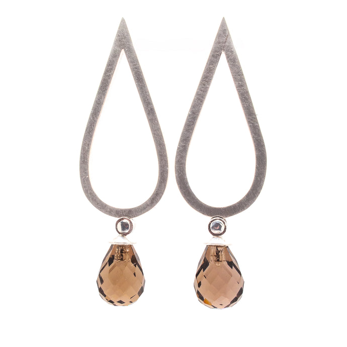 Smokey Quartz Drop Studs