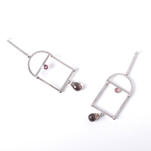 Malaya Garnet and Smokey Quartz Vaulted Earrings
