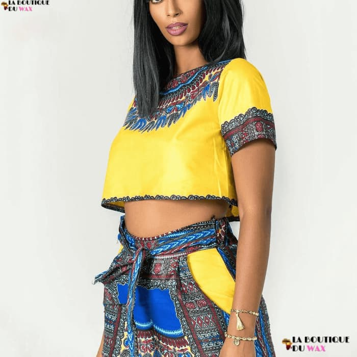 Ensemble imprimé Dashiki Top et Pantalon Jaune