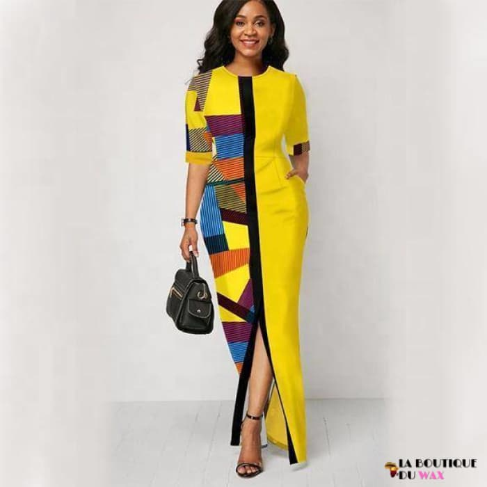 Robe Africaine jaune taille Slim - Vêtements style africain